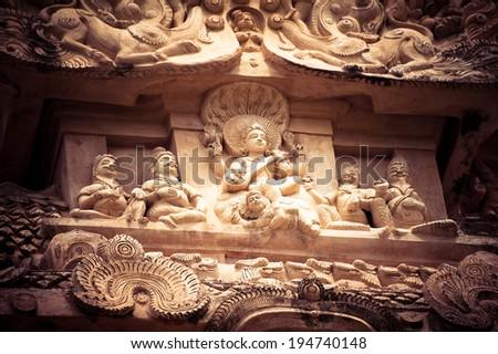 Amazing stone bas relief with Hindu God pantheon at Gangaikonda Cholapuram Temple. Great architecture of Hindu Temple dedicated to Shiva. South India, Tamil Nadu, Thanjavur (Trichy)