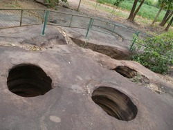 Amazing stone hole the hole is like a pot is a natural hole. The hole is the largest group in Thailand. There are no less than 16 holes with many sizes ranging from 40 -300 cm wide mouth - 10 m. deep