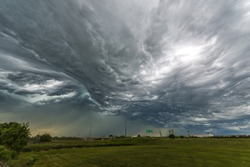 Amazing  Storm Clouds over the freeway - wide angle shot