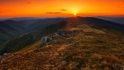 amazing summer nature sunrise image, scenic morning dawn view on meadow in mountains,  amazing summer  landscape, Europe, Carpathiam mountains, Ukraine