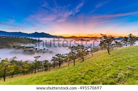 Photo of  Amazing sunrise at Golden Hill , Golden Valley in Da Lat City, Famous View In Da Lat City Da Lat is highland city fog in the morning. Da Lat is one of the beautiful and the famous city in Viet Nam.