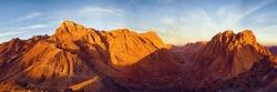 Amazing Sunrise at Sinai Mountain, Beautiful dawn in Egypt, Beautiful view from the mountain