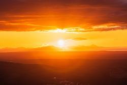 Amazing sunrise scene, beautiful natural scenery of Kamchatka, Russia.