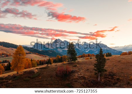 Amazing sunrise scenery on Seiser Alm (Alpe di Siusi) meadow with Odle - Geisler mountain group and red clouds background. Autumn in Dolomite Alps, South Tyrol, Italy. #725127355