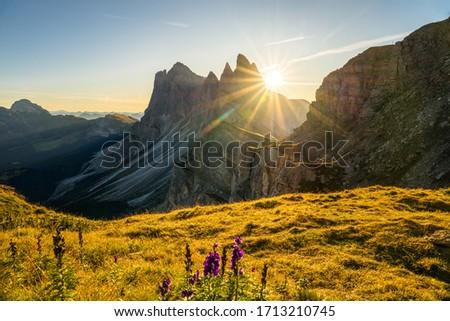 Amazing sunrise view of Seceda peak with sun flare. Trentino Alto Adige.Dolomites Alps, South Tyrol, Italy, Europe Zdjęcia stock ©