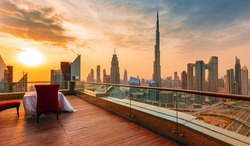 Amazing sunrise view on Dubai city center skyline, United Arab Emirates