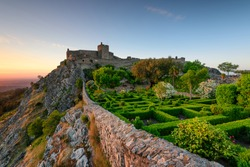 Amazing Sunset at Castle Marvao, a small picturesque village in the Alentejo. Panoramic view landscape.