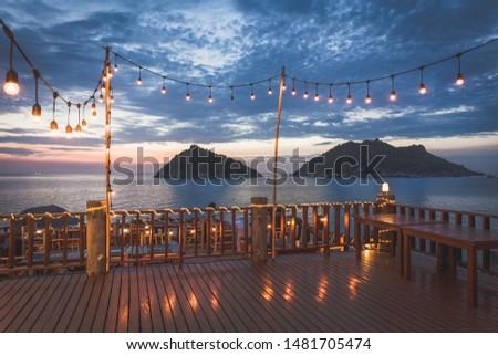 Amazing sunset at Koh Tao island at Chumphon, Surat thani, Thailand. Nang Yuan islands seen from tip of Koh Tao