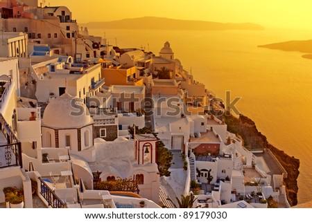 Amazing sunset at Oia village in Santorini island. - stock photo