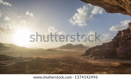 Amazing sunset at the Jordanian desert of Wadi Rum ,this breathtaking sunset will really blow your mind. Its stunning to see how the sun disappearing slowly behind those iconic mountains. #1374142496