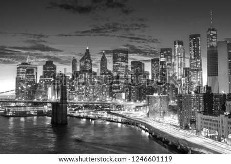 amazing sunset , manhattan financial district  from manhattan bridge, New York City #1246601119