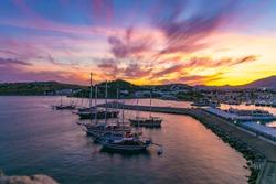 Amazing sunset on the beautiful harbor city bodrum Turkey.