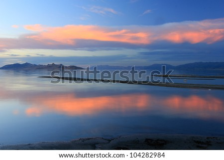 Amazing sunset on the Great Salt Lake, Utah.