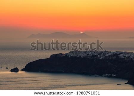 Amazing sunset over Oia and caldera of the Santorini island, Greece Zdjęcia stock ©