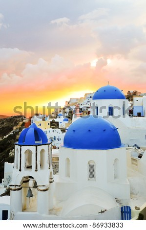 Amazing sunset over the Blue Oia Domes
