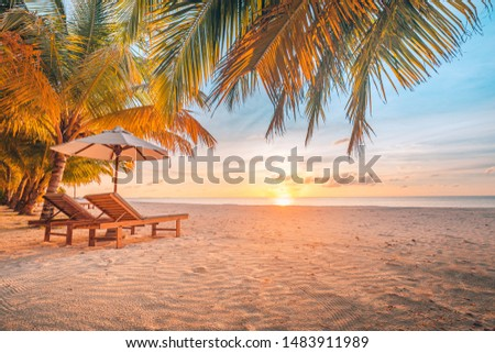 Amazing sunset scenery, wonderful beach landscape. Tropical paradise, sun rays and sea view. Summer vibes, perfect vacation or holiday concept, exotic travel resort and romantic honeymoon destination #1483911989