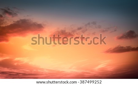 Amazing sunset sky for background. Vivid colors. #387499252