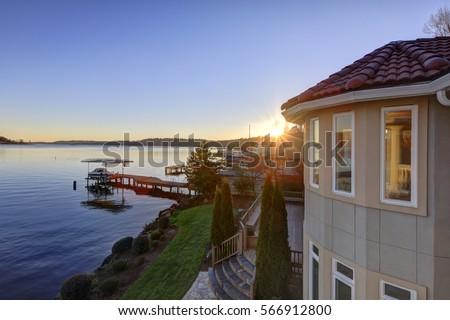 amazing sunset view of lake...