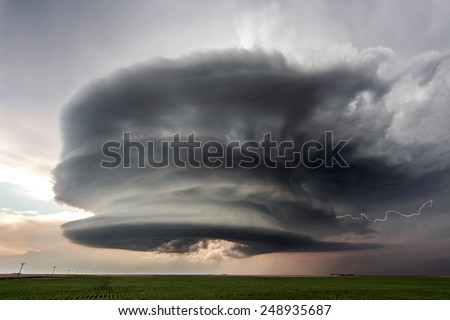 Amazing supercell storm and lightning