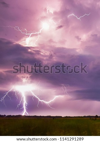 Amazing thunderstorm with lightning