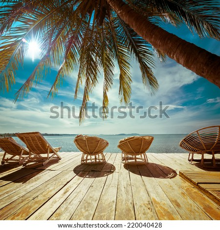 Amazing tropical beach landscape with palm tree and chairs for relaxation on wooden terrace. Travel background in vintage style #220040428