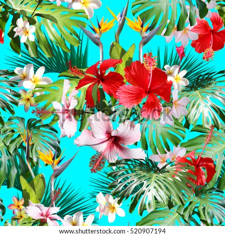 Amazing Tropical pattern green plants photo collage. Red hibiscus and leaves monstera, palm leaf pattern on a blue background.