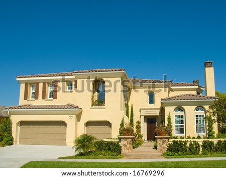 Amazing two story stucco executive house in beautiful for Amazing one story homes