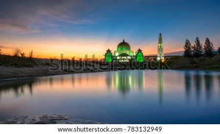 Amazing view at The Strait Mosque of Malacca, Malaysia with reflections during sunset. #783132949