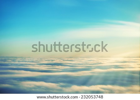 Amazing view from plane on the sky, sunset sun and clouds #232053748