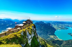 Amazing view from Schafberg by St. Sankt Wolfgang im in Salzkammergut, Haus house Schafbergspitze, lake Mondsee, Moonlake. Blue sky, alps mountains. Upper Austria, Salzburg, near Wolfgangsee, Attersee