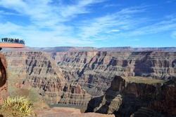 Amazing view Grand Canyon. Skywalk. Sky walk bridge. Arizona. USA. Mountains view over blue sky
