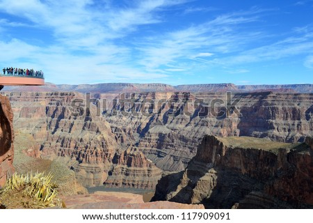 Amazing view Grand Canyon. Skywalk. Sky walk bridge. Arizona. USA. Mountains view over blue sky