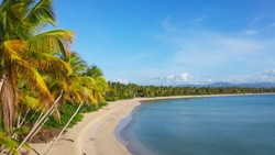 Amazing view of a wild beach with palm trees. Beautiful mountains on the horizon and blue sky. Thailand Phuket wild beach. The best beaches of world. Palms beach and blue sea and sky. Summer vacation