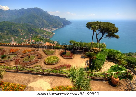 Amazing view of Amalfi coast seen from villa Rufolo garden, Ravello, Italy