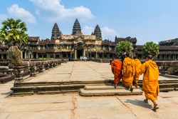 Amazing view of Angkor Wat is a temple complex in Cambodia and the largest religious monument in the world. Location: Siem Reap, Cambodia. Artistic picture. Beauty world