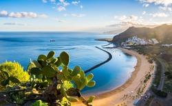 Amazing view of beach las Teresitas with yellow sand. Location: Santa Cruz de Tenerife, Tenerife, Canary Islands. Artistic picture. Beauty world