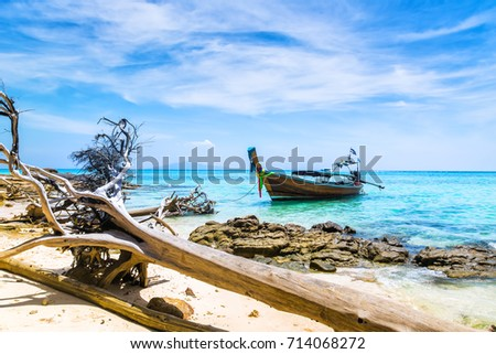 Amazing view of beautiful beach on the island with longtale boat. Dry trees - the consequences of a hurricane. Location: Krabi Province, Thailand, Andaman Sea. Artistic picture. Beauty world.