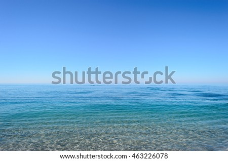 Amazing view of clear sea landscape with blue sky as a background. Calm and beautiful sea like a paradise. Sochi, Russia #463226078