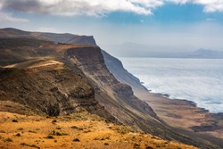 Amazing view of coastline Lanzarote, panoramic view near Mirador del Rio. Location: north of Lanzarote, Canary Islands, Spain. Artistic picture. Beauty world.