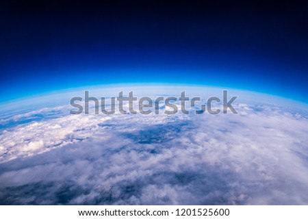 Amazing view of edge of earth and atmosphere layer