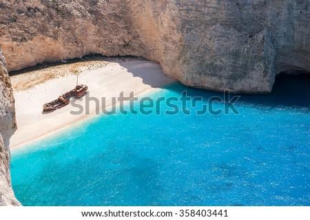 Amazing view of empty Navagio Beach, Zakynthos, Greece #358403441