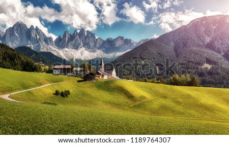 Amazing View of Famous alpine place of the world, Santa Maddalena village with magical Dolomites mountains in background, Val di Funes valley, Trentino Alto Adige region, Italy, Europe. (St Magdalena)