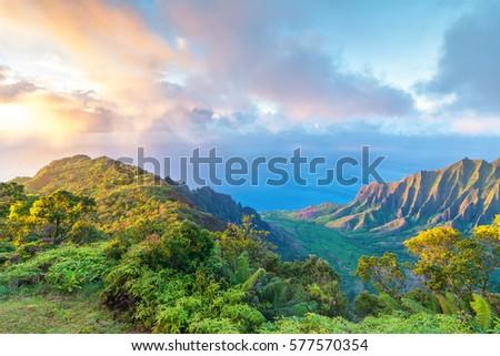 Amazing view of Kalalau Valley and Na Pali coast, Kauai island, Hawaii Stock photo ©