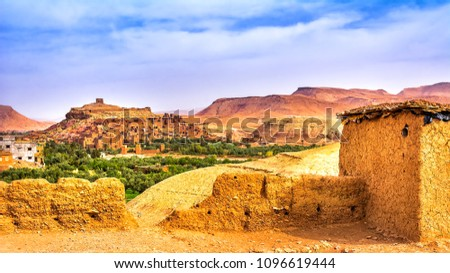 Amazing view of Kasbah Ait Ben Haddou near Ouarzazate in the Atlas Mountains of Morocco. UNESCO World Heritage Site since 1987. Artistic picture. Beauty world.
