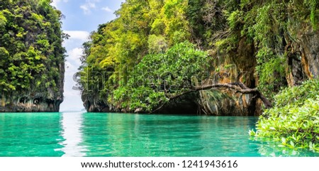 Amazing view of lagoon in Koh Hong island from kayak. Location: Koh Hong island, Krabi, Thailand, Andaman Sea. Artistic picture. Beauty world.