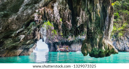Amazing view of lagoon in Koh Hong island from kayak. Location: Koh Hong island, Krabi, Thailand, Andaman Sea. Artistic picture. Beauty world. Panorama