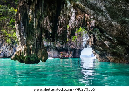 Amazing view of lagoon in Koh Hong island from kayak. Location: Koh Hong island, Krabi, Thailand, Andaman Sea. Artistic picture. Beauty world