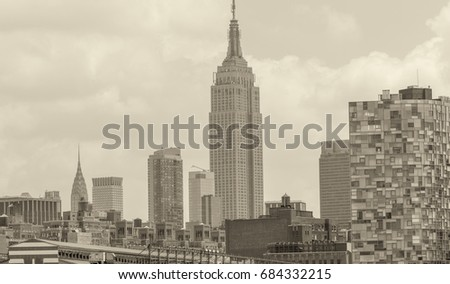 Amazing view of Manhattan skyline. City skyscrapers on a cloudy day.