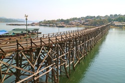 Amazing View of 447 Metre-long Mon Bridge, the Longest Handmade Wooden Bridge in Thailand, Located in Sangkhlaburi District of Kanchanaburi Province, Historic Place in Thailand