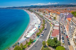 Amazing View of Nice's Roofs and Promenade des Anglais, Wide Aerial View Taken from the Castle Hill (Colline du Château), Provence-Alpes-Côte d'Azur, French Riviera